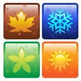 Pictogrammen voor vier seizoenen Stock Afbeelding