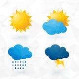 Pictogrammen voor weer met zon en wolkenmotief Royalty-vrije Stock Fotografie