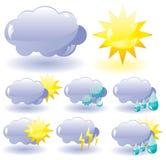 Pictogrammen voor weerbeschrijving Royalty-vrije Stock Afbeelding