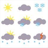 Pictogrammen voor weervoorspelling Stock Afbeeldingen