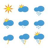 Pictogrammen voor weervoorspellingsillustratie Royalty-vrije Stock Afbeeldingen