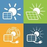 Pictogrammen voor zonnepaneel worden geplaatst dat vector illustratie
