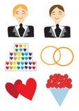 Pictogrammen vrolijk huwelijk Royalty-vrije Stock Foto's