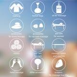 Pictogrammen witte tonende massage en kuuroord Royalty-vrije Stock Afbeeldingen