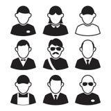 Pictogrammenavatars Zwart-witte mensenpictogrammen Royalty-vrije Stock Foto