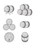 Pictogrammenbier, wijn houten container Stock Foto's