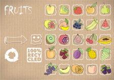 pictogrammenfruit op een kartonachtergrond Vector illustratie Royalty-vrije Illustratie