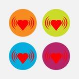 Pictogrammenhart, hartslag, liefde stock illustratie