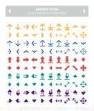 Pictogrammenpijlen - kleurrijke vlakte Royalty-vrije Stock Foto's