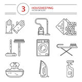 Pictogrammenreeks hulpmiddelen van het huishoudenwerk Royalty-vrije Stock Afbeelding