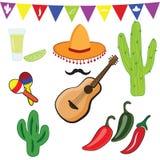 Pictogrammenreeks Mexicaanse symbolen in vlakke ontwerpstijl Stock Fotografie