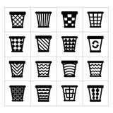 Pictogrammenreeks van afvalmand. Vuilnisbak voor kringloop Stock Foto