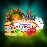 Pictogrammenreeks van het gokken in Las Vegas Stock Afbeelding