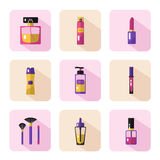 Pictogrammenreeks van schoonheidsmiddelen en schoonheid Royalty-vrije Stock Foto