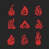 Pictogrammenreeks van vlambrand Stock Foto's