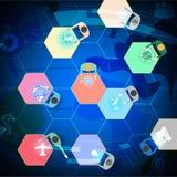 Pictogrammens in conceptengroepswerk, netwerk, vennootschap en technologie Royalty-vrije Stock Foto's