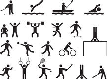 Pictogrammensen die sportactiviteiten doen Stock Fotografie