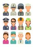 Pictogrammensen - militair, mariene ambtenaar, proef, zeeman, politie, lijfwacht, brandweerman, paramedicus vector illustratie
