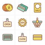 Pictogrammenstijl het Winkelen Royalty-vrije Stock Afbeeldingen