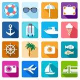 Pictogrammenvakantie, toerisme, overzees, ontspanning, gekleurde vlakte Stock Foto