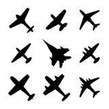 Pictogrammenvliegtuigen, vectorillustratie Stock Afbeelding