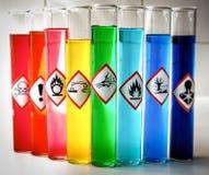 Pictogrammes chimiques alignés de danger - explosif image libre de droits