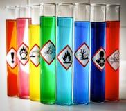 Pictogrammes chimiques alignés de danger - inflammables Photos stock