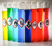 Pictogrammes chimiques alignés de danger - risque sanitaire sérieux photo stock