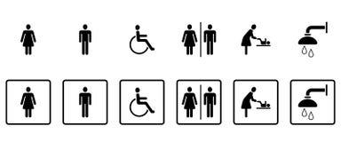 Pictogrammes de carte de travail et de toilettes - Iconset illustration libre de droits