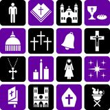 Pictogrammes de la religion catholique illustration de vecteur