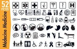 52 pictogrammes de signage sur des insectes de médecine et de santé illustration stock