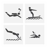 Pictogramoefening het zwemmen reeksen Royalty-vrije Stock Afbeeldingen
