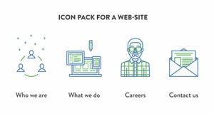 Pictogrampak voor een website met pictogrammen die Who tonen Stock Foto