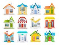 Pictogramreeks huizen en gebouwen van verschillende typesvector royalty-vrije illustratie
