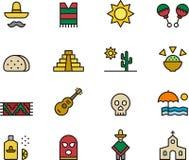 Pictogramreeks Mexicaanse Symbolen Stock Afbeeldingen