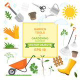 Pictogramreeks verschillende vriendelijke het tuinieren hulpmiddelen, materiaal, groenten en installaties Kleurrijke ontwerpen va Royalty-vrije Stock Afbeelding