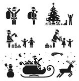 Pictograms. Pictogram black & white icon set - christmas season vector illustration