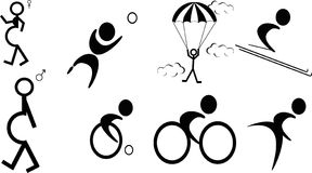 Pictograms of events. Silhouettes of Pictogram s of different events and lifestyles. Isolated in illustration Stock Photo