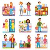 PIctograms för lägenhet för familjshoppingbegrepp royaltyfri illustrationer