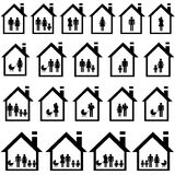 Pictograms of families in houses. On white background Royalty Free Stock Images