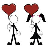 Pictograms love stick man and girl Stock Photo