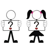 Pictograms love stick man and girl Stock Images