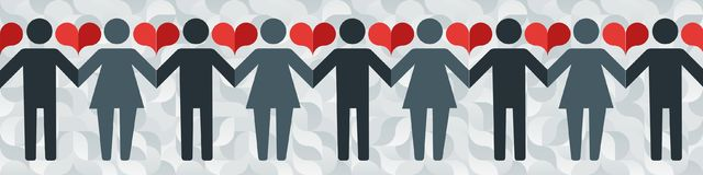 Pictograms of men and women holding hands on the background of an abstract pattern and hearts. Vector illustration in a modern flat style, for registration of Royalty Free Stock Image