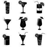 Pictograms of party cocktails with alcohol Stock Images