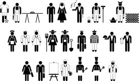 Pictograms of workers Stock Image