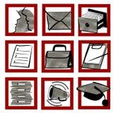pictogramset stock illustrationer