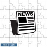 Pictograph дизайна значка новостей плоского дальше с предпосылкой головоломки Стоковые Фото