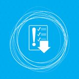 Pictograph of checklist icon on a blue background with abstract circles around and place for your text. Illustration Stock Image