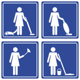 Pictograph - cleaning. Set of 4 pictographs of a woman cleaning Stock Photos