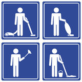 Pictograph - cleaning, male. Set of 4 pictographs of a man cleaning Royalty Free Stock Photo